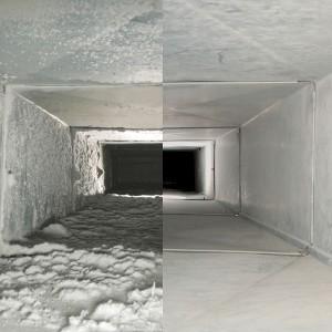 Kanaal vierkant voor en na reiniging